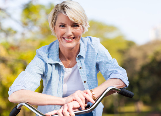 50 year old woman on a bike